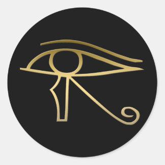 Ojo del símbolo del egipcio de Horus Pegatina Redonda