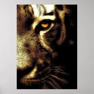Ojo del tigre de Brown Sumatran Borneo de la sepia Póster