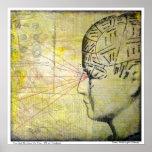 Ojo del vintage del cráneo 3 de la frenología impresiones