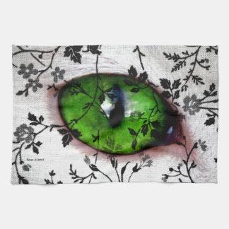 Ojo del vintage femenino del gato floral toallas de cocina