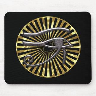Ojo egipcio del oro y del negro de Horus Alfombrilla De Ratón