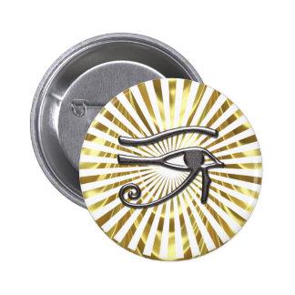 Ojo egipcio del oro y del negro de Horus Pin Redondo De 2 Pulgadas
