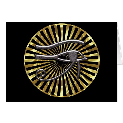 Ojo egipcio del oro y del negro de Horus Tarjeta De Felicitación