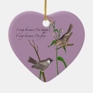 Ojo en el gorrión adorno navideño de cerámica en forma de corazón