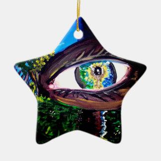 Ojo en el medio del bosque adorno navideño de cerámica en forma de estrella
