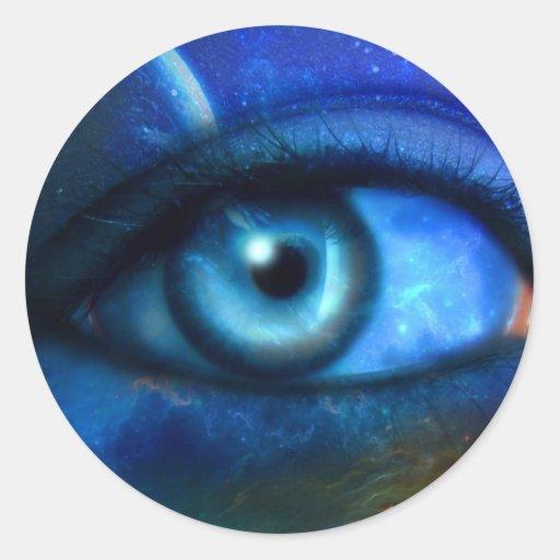Ojo en el pegatina del universo