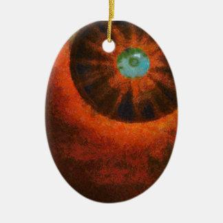 Ojo en la pintura del espacio adorno ovalado de cerámica