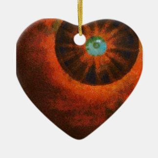 Ojo en la pintura del espacio adorno de cerámica en forma de corazón