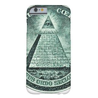 Ojo en la pirámide de Illuminati del dólar Funda De iPhone 6 Barely There