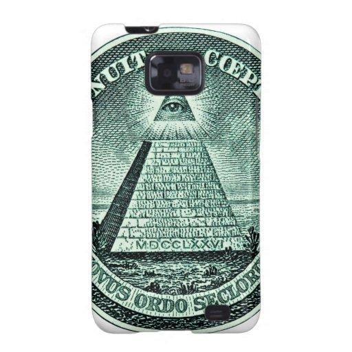 Ojo en la pirámide de Illuminati del dólar Funda Galaxy SII