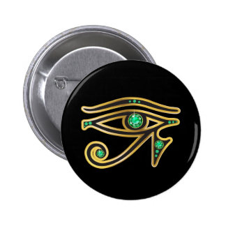 Ojo esmeralda del Ra en oro Pin Redondo De 2 Pulgadas