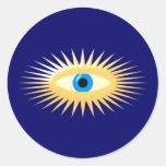 Ojo estrella fulgor star eye rays pegatina redonda