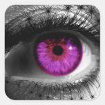 Ojo estrellado púrpura calcomanía cuadradas personalizada