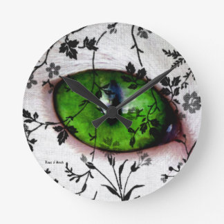 Ojo femenino fresco floral del vintage lindo del reloj redondo mediano