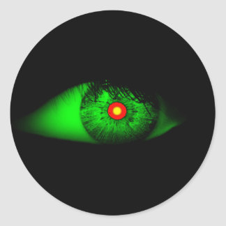 Ojo fresco de Halloween de la bruja/Casa-de-Grosch Pegatina Redonda