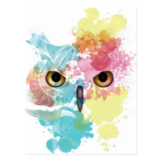 Ojo hermoso del búho animal de la fantasía de tarjetas postales