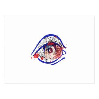Ojo inyectado en sangre azul con las grietas tarjetas postales