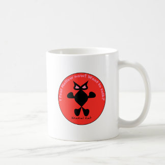 Ojo loco del gato, gato loco del ojo taza básica blanca
