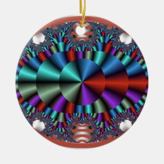 Ojo metálico adorno navideño redondo de cerámica