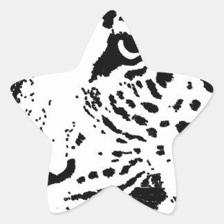 Ojo negro y blanco del leopardo pegatina en forma de estrella