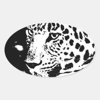 Ojo negro y blanco del leopardo pegatina ovalada