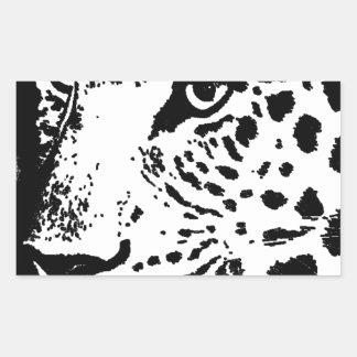 Ojo negro y blanco del leopardo pegatina rectangular