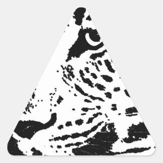 Ojo negro y blanco del leopardo pegatina triangular