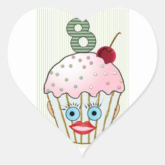 Ojo ocho lindos de la cara del modelo del pegatina en forma de corazón
