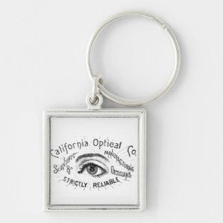 Ojo óptico de California del vintage Llavero Cuadrado Plateado