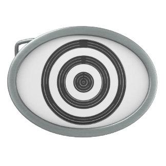 OJO para el arte - círculos negros en blanco Hebillas Cinturón Ovales