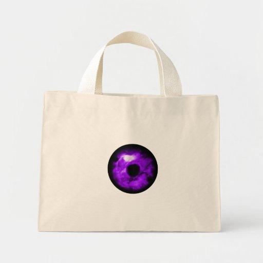 Ojo púrpura que mira el gráfico, interior nublado bolsa tela pequeña