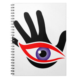Ojo que emerge de una palma notebook