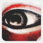 Ojo rojo, blanco y negro del Ra Pegatina Cuadrada