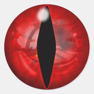 Ojo rojo del dragón pegatina redonda