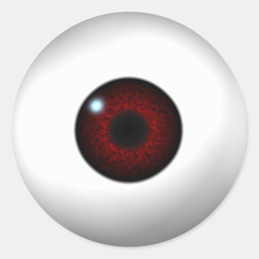 ojo rojo pegatinas redondas