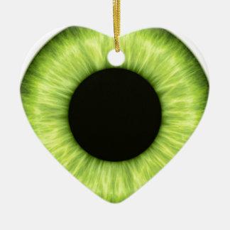 Ojo verde espeluznante de Halloween Adorno Navideño De Cerámica En Forma De Corazón