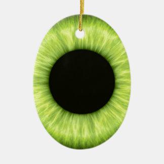 Ojo verde espeluznante de Halloween Adorno Navideño Ovalado De Cerámica