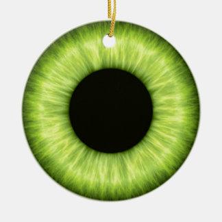 Ojo verde espeluznante de Halloween Adorno Navideño Redondo De Cerámica