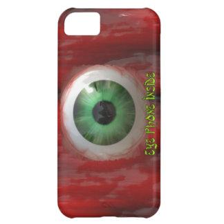 Ojo verde espeluznante y caja orgánica roja del funda para iPhone 5C