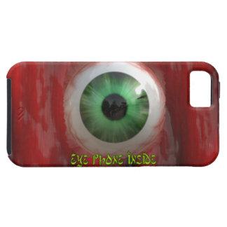 Ojo verde espeluznante y caja orgánica roja del funda para iPhone SE/5/5s