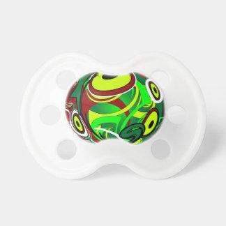 Ojo verde rojo abstracto espeluznante chupete de bebe