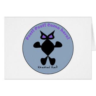 Ojo violeta del gato, gato violeta del ojo tarjeta de felicitación