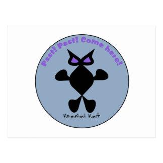 Ojo violeta del gato, gato violeta del ojo postal