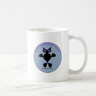 Ojo violeta del gato, gato violeta del ojo taza básica blanca