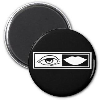 Ojo y labios imán redondo 5 cm