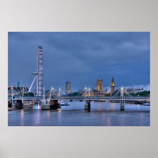 Ojo y Westminster Inglaterra de Londres Poster