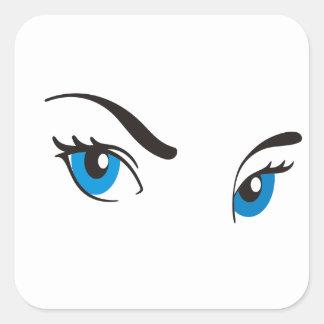 Ojos azules de acecho colcomania cuadrada