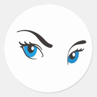 Ojos azules de acecho etiquetas
