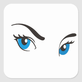 Ojos azules de acecho pegatina cuadrada