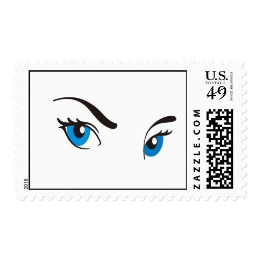 Ojos azules de acecho sello